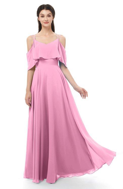 ColsBM Jamie Pink Bridesmaid Dresses Floor Length Pleated V-neck Half Backless A-line Modern