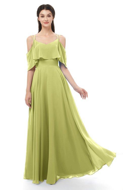 ColsBM Jamie Pistachio Bridesmaid Dresses Floor Length Pleated V-neck Half Backless A-line Modern