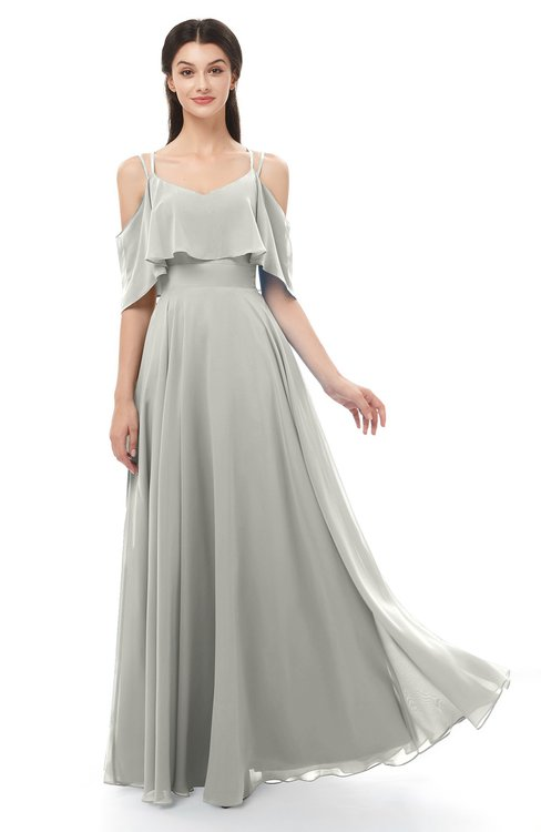 ColsBM Jamie Platinum Bridesmaid Dresses Floor Length Pleated V-neck Half Backless A-line Modern