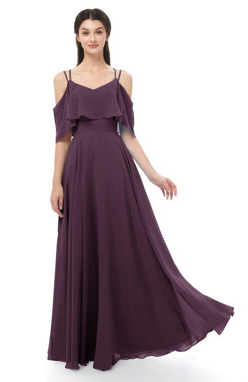 ColsBM Jamie Plum Bridesmaid Dresses Floor Length Pleated V-neck Half Backless A-line Modern
