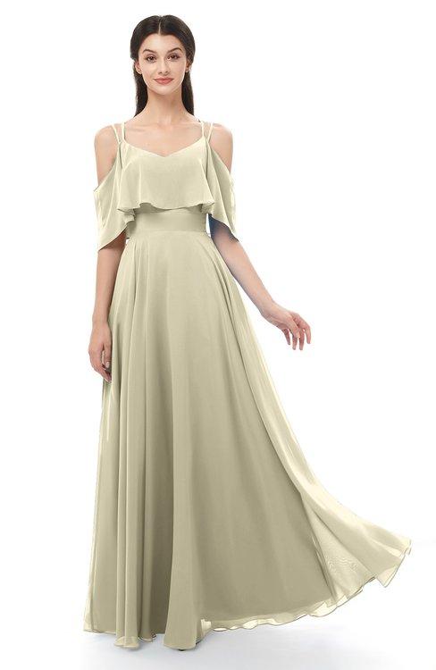 ColsBM Jamie Putty Bridesmaid Dresses Floor Length Pleated V-neck Half Backless A-line Modern