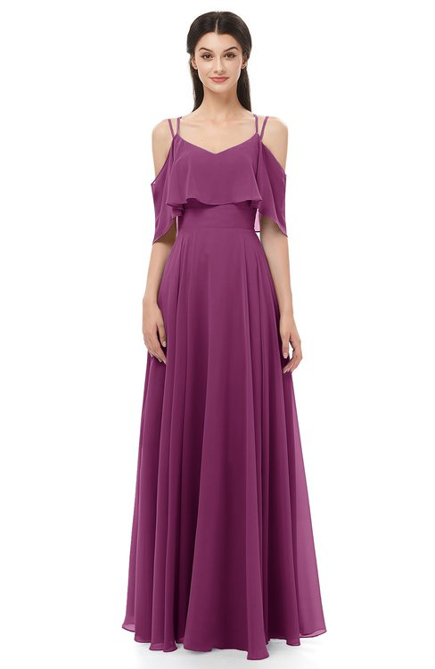 444d9ea327f ... ColsBM Jamie Raspberry Bridesmaid Dresses Floor Length Pleated V-neck  Half Backless A-line ...