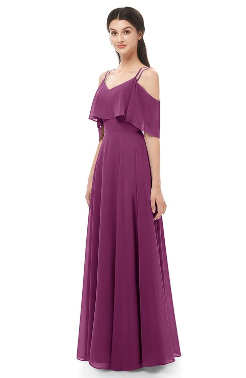 f078a296274 ... ColsBM Jamie Raspberry Bridesmaid Dresses Floor Length Pleated V-neck  Half Backless A-line