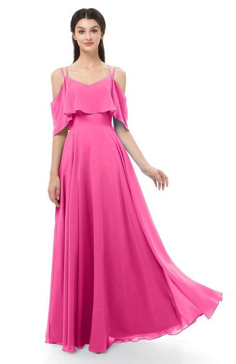ColsBM Jamie Rose Pink Bridesmaid Dresses Floor Length Pleated V-neck Half Backless A-line Modern