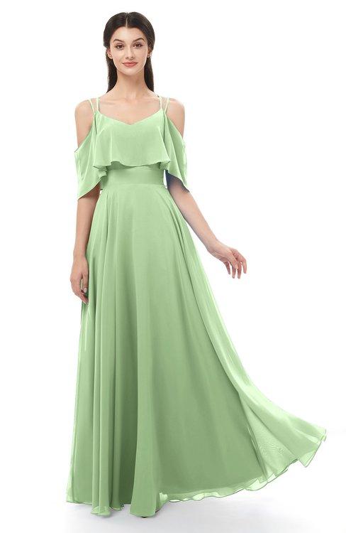 ColsBM Jamie Sage Green Bridesmaid Dresses Floor Length Pleated V-neck Half Backless A-line Modern