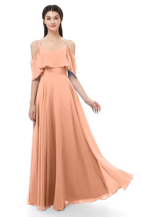 ColsBM Jamie Salmon Bridesmaid Dresses Floor Length Pleated V-neck Half Backless A-line Modern