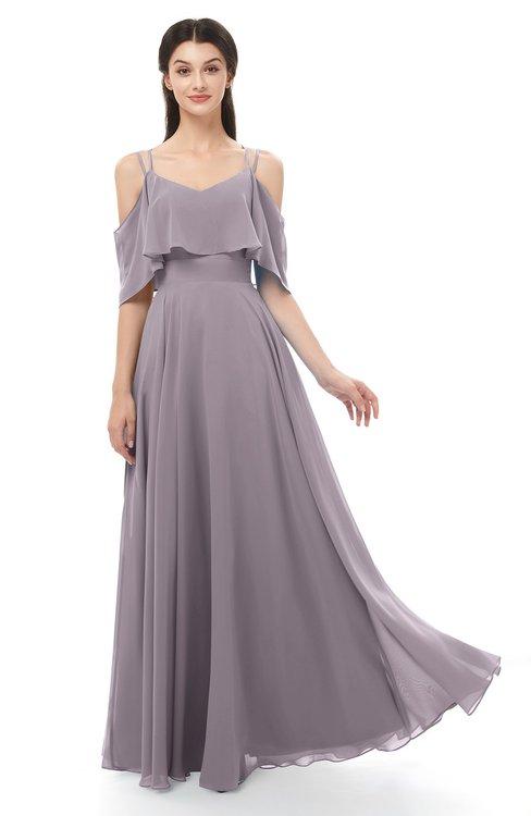 ColsBM Jamie Sea Fog Bridesmaid Dresses Floor Length Pleated V-neck Half Backless A-line Modern