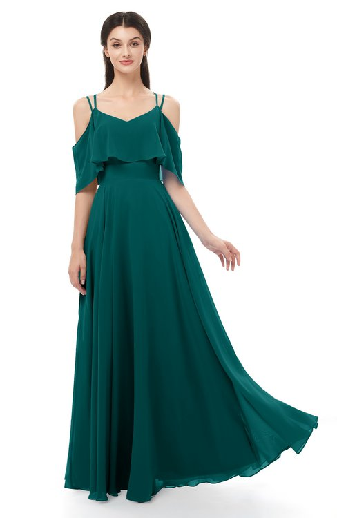 ColsBM Jamie Shaded Spruce Bridesmaid Dresses Floor Length Pleated V-neck Half Backless A-line Modern
