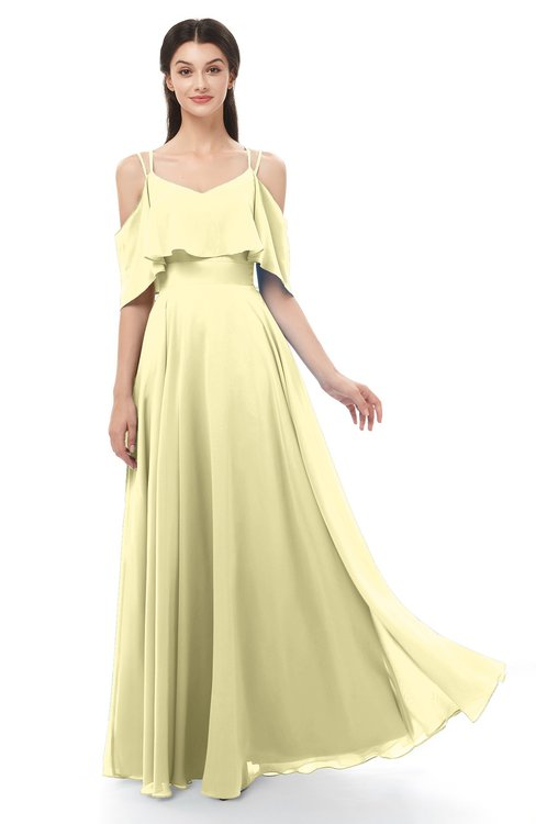 ColsBM Jamie Soft Yellow Bridesmaid Dresses Floor Length Pleated V-neck Half Backless A-line Modern