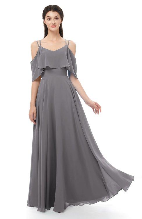 ColsBM Jamie Storm Front Bridesmaid Dresses Floor Length Pleated V-neck Half Backless A-line Modern