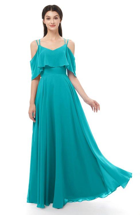 ColsBM Jamie Teal Bridesmaid Dresses Floor Length Pleated V-neck Half Backless A-line Modern