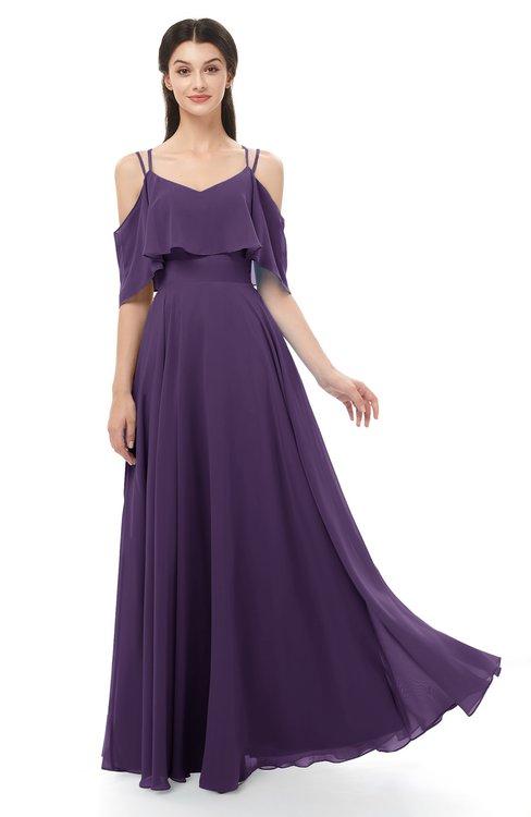 ColsBM Jamie Violet Bridesmaid Dresses Floor Length Pleated V-neck Half Backless A-line Modern