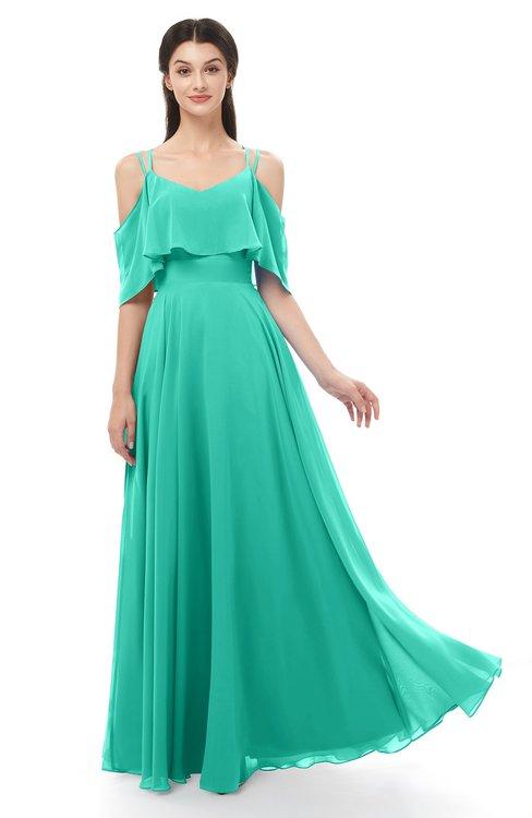 ColsBM Jamie Viridian Green Bridesmaid Dresses Floor Length Pleated V-neck Half Backless A-line Modern