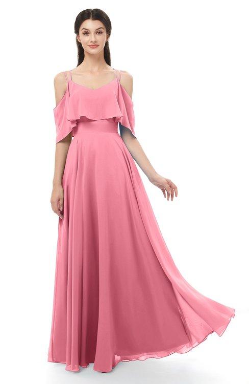 ColsBM Jamie Watermelon Bridesmaid Dresses Floor Length Pleated V-neck Half Backless A-line Modern