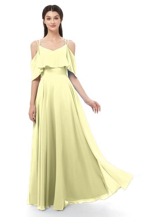 ColsBM Jamie Wax Yellow Bridesmaid Dresses Floor Length Pleated V-neck Half Backless A-line Modern