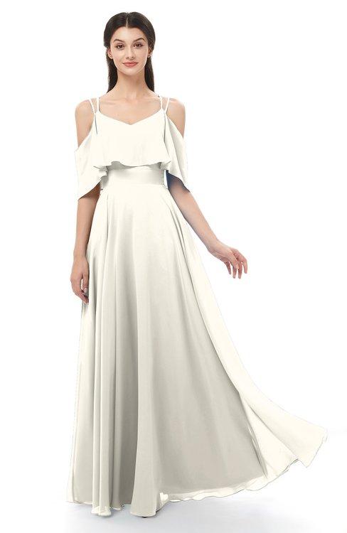 ColsBM Jamie Whisper White Bridesmaid Dresses Floor Length Pleated V-neck Half Backless A-line Modern