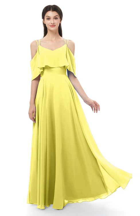 ColsBM Jamie Yellow Iris Bridesmaid Dresses Floor Length Pleated V-neck Half Backless A-line Modern
