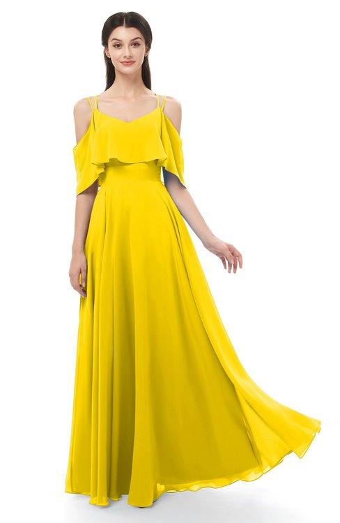 ColsBM Jamie Yellow Bridesmaid Dresses Floor Length Pleated V-neck Half Backless A-line Modern