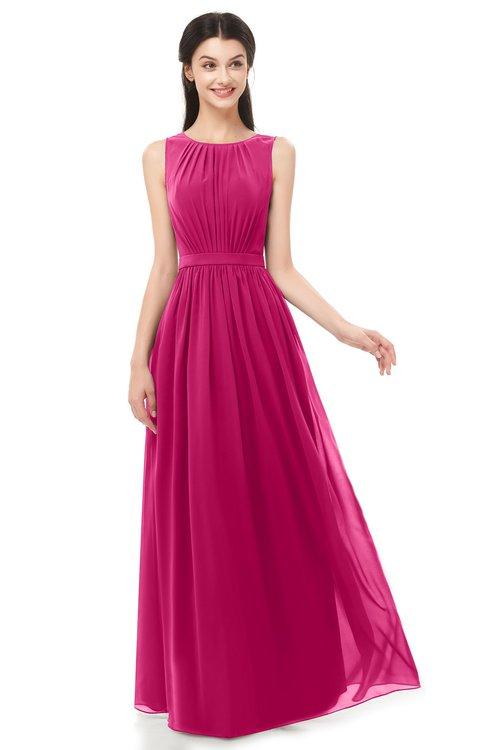 ColsBM Briar Beetroot Purple Bridesmaid Dresses Sleeveless A-line Pleated Floor Length Elegant Bateau