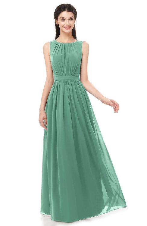 ColsBM Briar Bristol Blue Bridesmaid Dresses Sleeveless A-line Pleated Floor Length Elegant Bateau