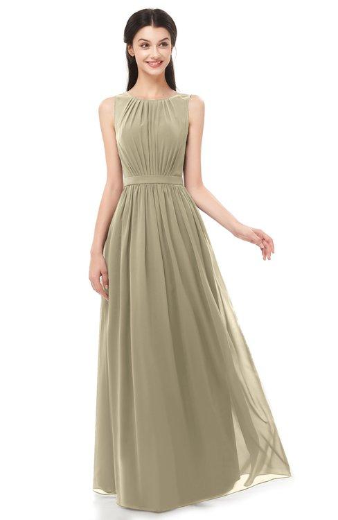 ColsBM Briar Candied Ginger Bridesmaid Dresses Sleeveless A-line Pleated Floor Length Elegant Bateau