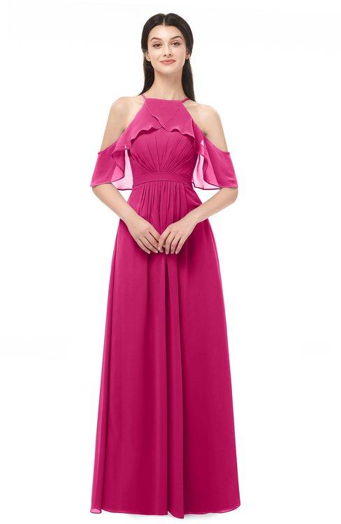 ColsBM Andi Beetroot Purple Bridesmaid Dresses Zipper Off The Shoulder Elegant Floor Length Sash A-line