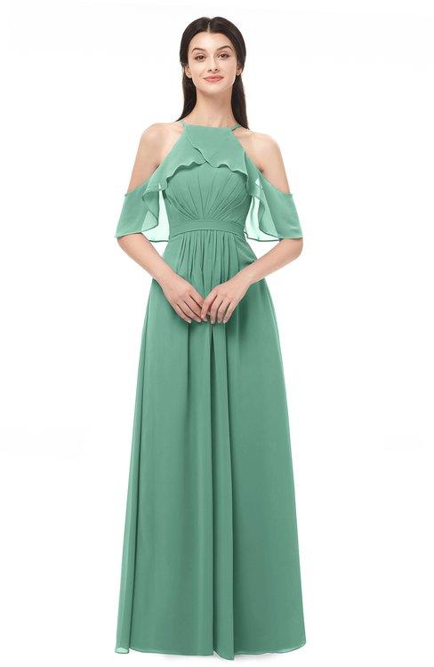 ColsBM Andi Beryl Green Bridesmaid Dresses Zipper Off The Shoulder Elegant Floor Length Sash A-line