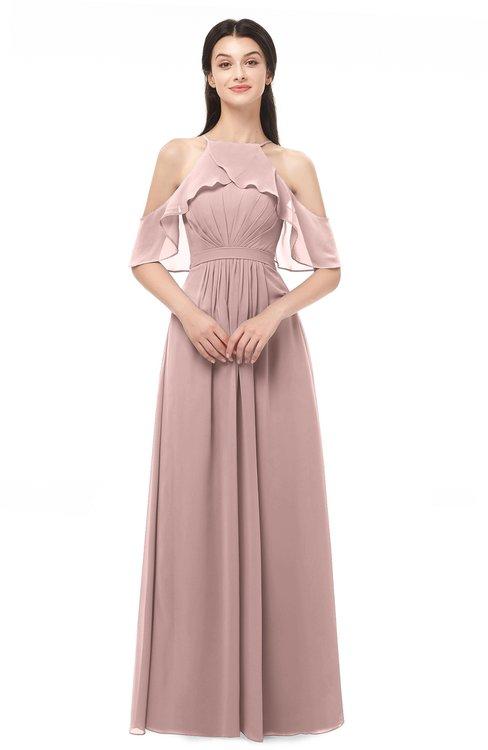 ColsBM Andi Blush Pink Bridesmaid Dresses Zipper Off The Shoulder Elegant Floor Length Sash A-line