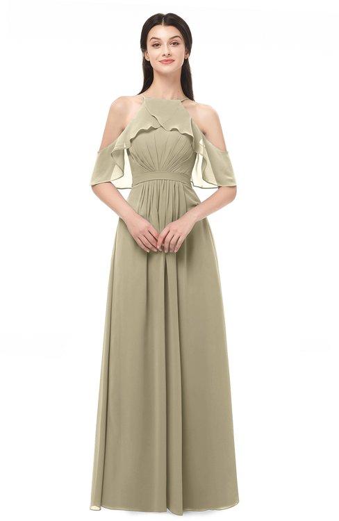 ColsBM Andi Candied Ginger Bridesmaid Dresses Zipper Off The Shoulder Elegant Floor Length Sash A-line