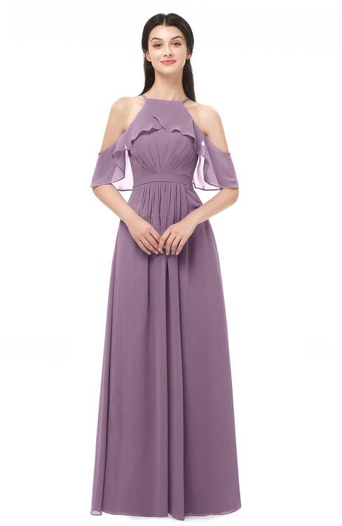 ColsBM Andi Mauve Bridesmaid Dresses Zipper Off The Shoulder Elegant Floor Length Sash A-line