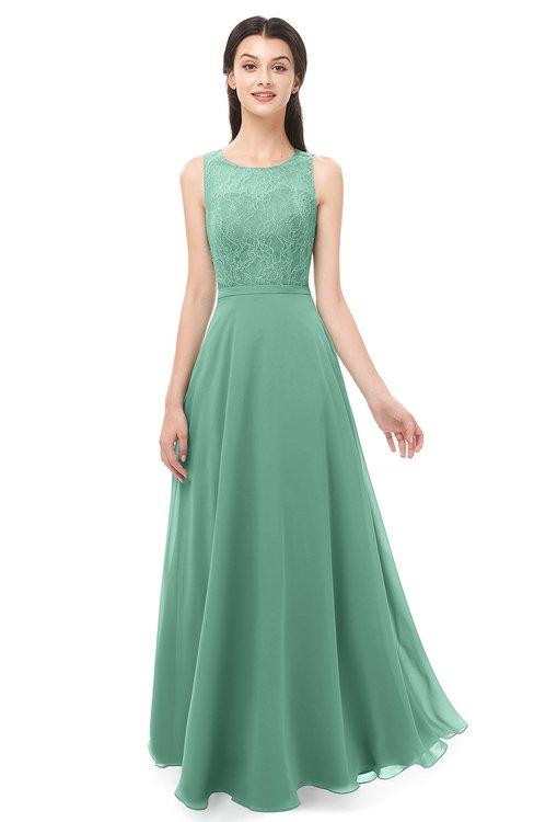 ColsBM Indigo Beryl Green Bridesmaid Dresses Sleeveless Bateau Lace Simple Floor Length Half Backless
