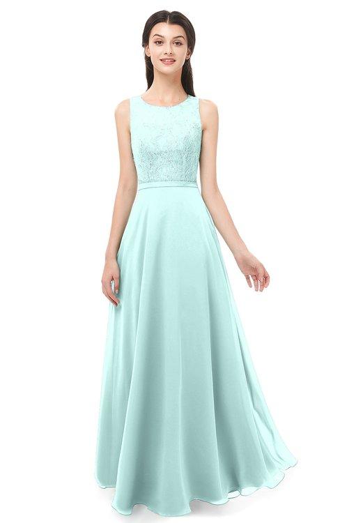 ColsBM Indigo Blue Glass Bridesmaid Dresses Sleeveless Bateau Lace Simple Floor Length Half Backless
