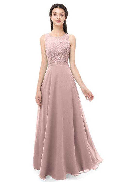 ColsBM Indigo Blush Pink Bridesmaid Dresses Sleeveless Bateau Lace Simple Floor Length Half Backless