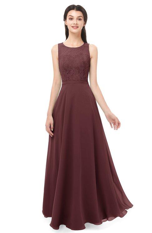 ColsBM Indigo Burgundy Bridesmaid Dresses Sleeveless Bateau Lace Simple Floor Length Half Backless