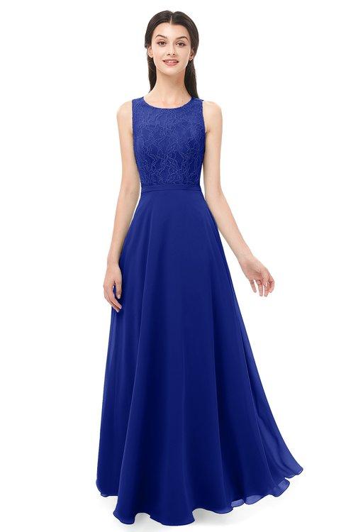 ColsBM Indigo Nautical Blue Bridesmaid Dresses Sleeveless Bateau Lace Simple Floor Length Half Backless