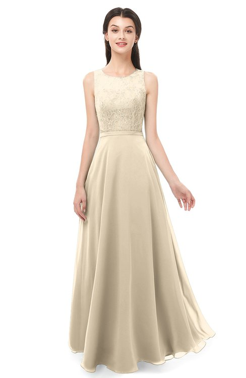 ColsBM Indigo Novelle Peach Bridesmaid Dresses Sleeveless Bateau Lace Simple Floor Length Half Backless