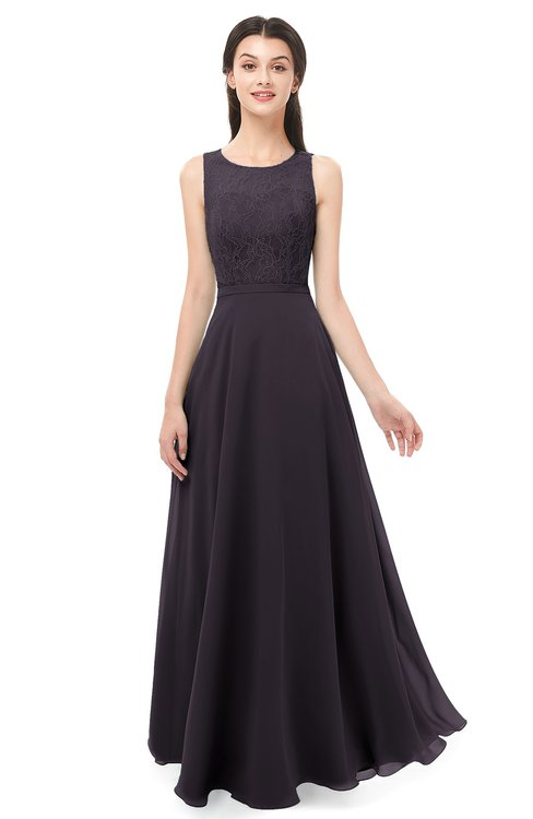 ColsBM Indigo Perfect Plum Bridesmaid Dresses Sleeveless Bateau Lace Simple Floor Length Half Backless