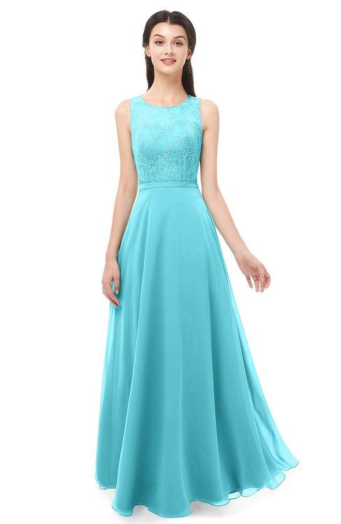 ColsBM Indigo Turquoise Bridesmaid Dresses Sleeveless Bateau Lace Simple Floor Length Half Backless