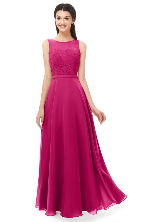 ColsBM Emery Beetroot Purple Bridesmaid Dresses Bateau A-line Floor Length Simple Zip up Sash