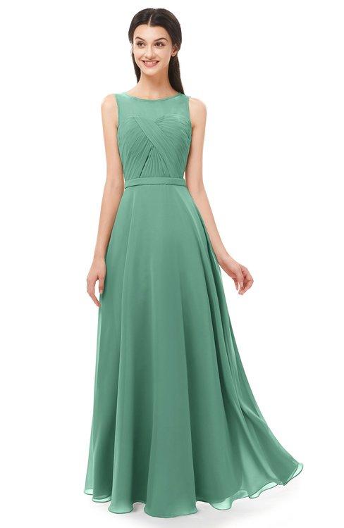 ColsBM Emery Beryl Green Bridesmaid Dresses Bateau A-line Floor Length Simple Zip up Sash