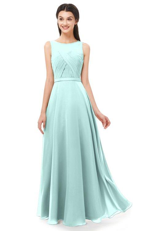 ColsBM Emery Blue Glass Bridesmaid Dresses Bateau A-line Floor Length Simple Zip up Sash