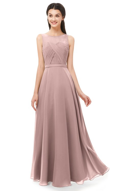 ColsBM Emery Blush Pink Bridesmaid Dresses Bateau A-line Floor Length Simple Zip up Sash