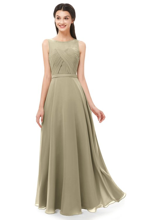 ColsBM Emery Candied Ginger Bridesmaid Dresses Bateau A-line Floor Length Simple Zip up Sash