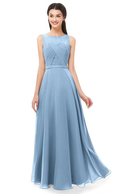 ColsBM Emery Dusty Blue Bridesmaid Dresses Bateau A-line Floor Length Simple Zip up Sash