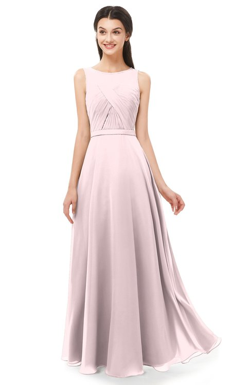 ColsBM Emery Petal Pink Bridesmaid Dresses Bateau A-line Floor Length Simple Zip up Sash