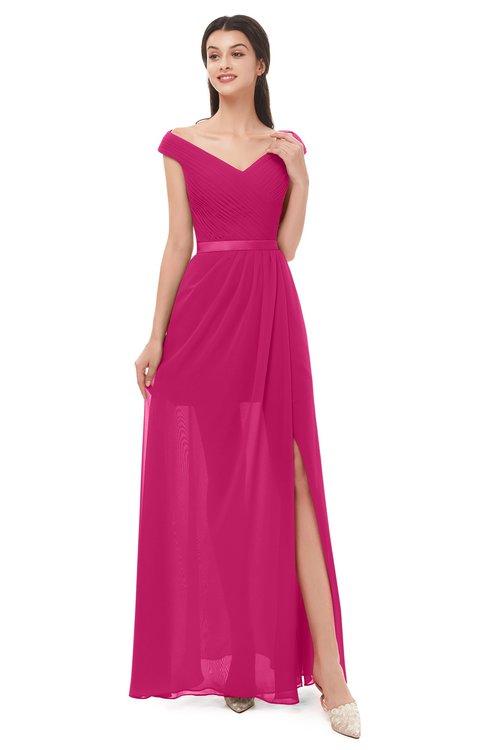 ColsBM Ariel Beetroot Purple Bridesmaid Dresses A-line Short Sleeve Off The Shoulder Sash Sexy Floor Length