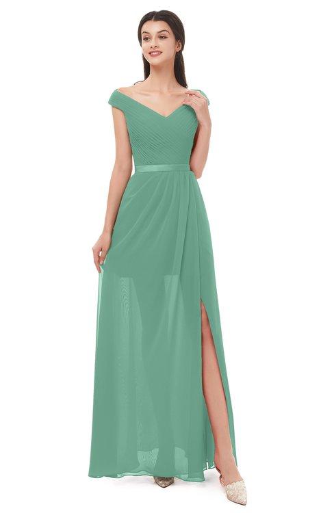 ColsBM Ariel Beryl Green Bridesmaid Dresses A-line Short Sleeve Off The Shoulder Sash Sexy Floor Length