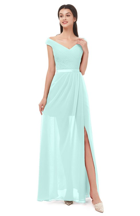 ColsBM Ariel Blue Glass Bridesmaid Dresses A-line Short Sleeve Off The Shoulder Sash Sexy Floor Length
