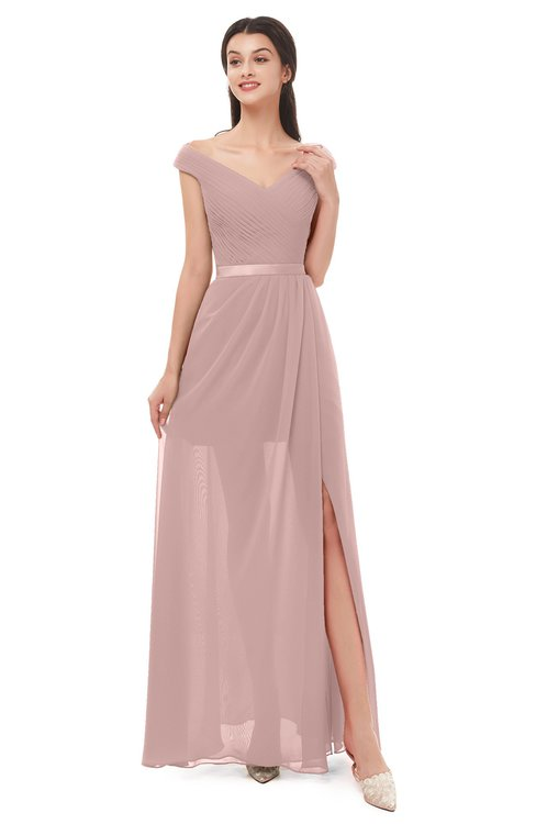 ColsBM Ariel Blush Pink Bridesmaid Dresses A-line Short Sleeve Off The Shoulder Sash Sexy Floor Length