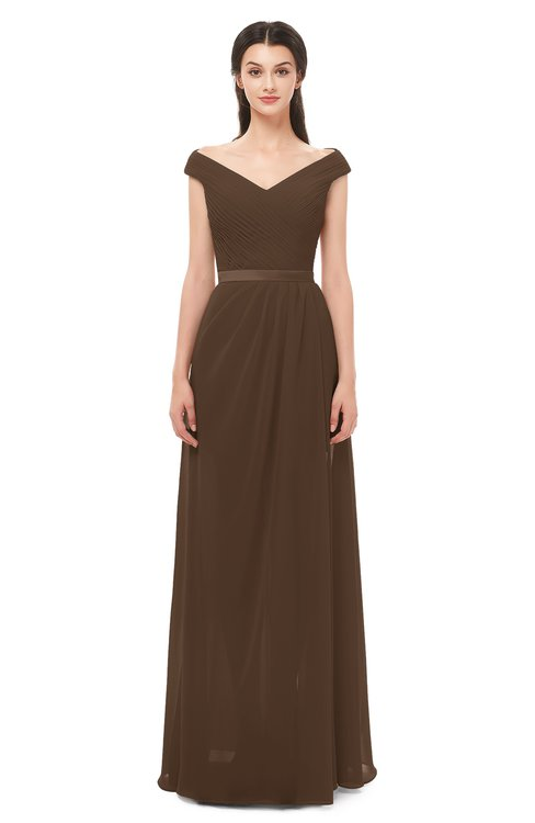 88bc74ef9dc4 ... ColsBM Ariel Chocolate Brown Bridesmaid Dresses A-line Short Sleeve Off  The Shoulder Sash Sexy ...
